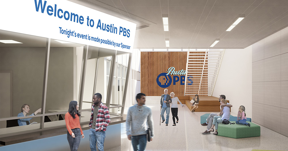 a sketch of the entry staircase and front desk area of the new Austin PBS offices